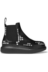 Alexander Mcqueen Studded Glossed Leather Exaggerated Sole Chelsea Boots Black