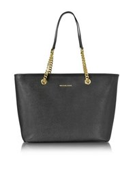 Michael Kors Black Saffiano Leather Jet Set Travel Chain T Zip Multifunction Tote