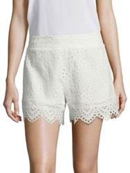Nightcap Clothing Scalloped Cotton Eyelet Shorts Vintage White