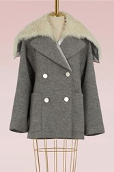 Proenza Schouler Wool And Shearling Short Coat 01020 Light Grey Melange