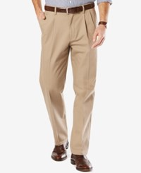 Dockers Men's Signature Classic Fit Khaki Pleated Stretch Pants Timberwolf
