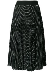 Twin Set Pleated Polka Dot Skirt Polyester Black