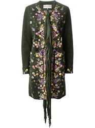 Emilio Pucci Flower Embroidery Fringed Coat