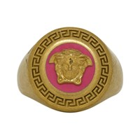 Versace Pink And Gold Medusa Medallion Ring