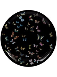 Fornasetti Butterfly Printed Tray Black