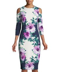 Jax Floral Cold Shoulder Midi Dress Multi Pattern