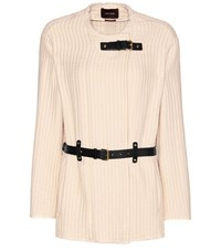 Isabel Marant Glasco Leather Trimmed Cotton Jacket White