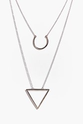 Boohoo Triangle And Loop Layered Necklace Rose Gold