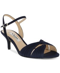 Nina Camille Two Piece Mid Heel Evening Sandals Women's Shoes New Navy