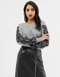 Lipsy Off Shoulder Sweater With Lace Sleeve Detail In Gray Gray