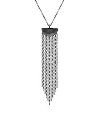 Lord And Taylor Fringe Pendant Necklace Silver