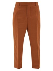 Rick Owens Easy Astaires High Rise Crepe Trousers Brown