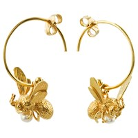 Alex Monroe 22Ct Gold Vermeil Flying Bee Freshwater Pearl Hoop Earrings Gold