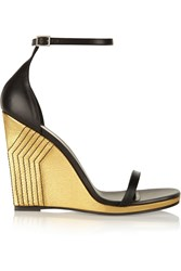 Saint Laurent Jane Metallic Leather Wedge Sandals Black
