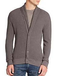 Ralph Lauren Black Label Waffle Knit Pima Cardigan Dark Grey