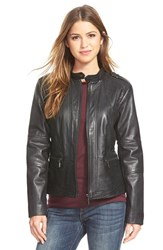 Petite Women's Bernardo 'Kirwin' Zip Front Leather Jacket
