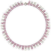 Eclectica Vintage 1930S Deco Platinin Necklace Pink