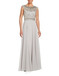 Sue Wong Beaded Grecian Inspired Gown Platinum