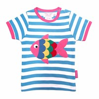 Toby Tiger Fish T Shirt White Blue