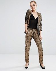 Sister Jane Skinny Trousers In Heart Leopard Print Co Ord Gold