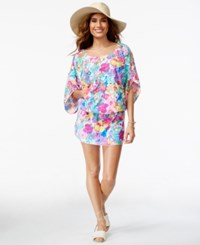 Anne Cole Smocked Floral Print Cover Up Women's Swimsuit Multi