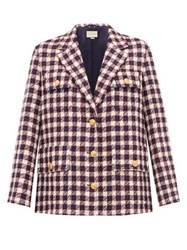Gucci Checked Wool Tweed Jacket White Multi