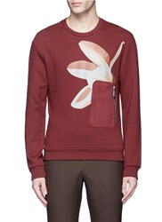 Wooyoungmi Floral Print Marble Effect Zip Sweatshirt Red