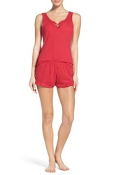Betsey Johnson Women's Ribbed Short Pajamas Dolce Red