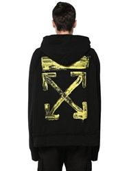 Off White Oversize Printed Cotton Jersey Hoodie Black