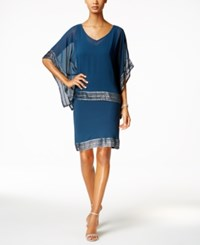 Si Fashions Sl Embellished Chiffon Cape And Dress Blue Silver