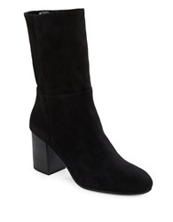 Eileen Fisher Cinch Mid Calf Suede Boots Black