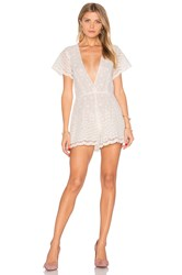 Lurelly Embroidered Flower Romper White