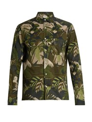 Valentino Button Cuff Leaf Print Cotton Shirt Green