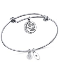 Unwritten To The Moon And Back Charm And Crystal Adjustable Bracelet In Stainless Steel