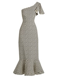 Saloni Greta Polka Dot Print Double Crepe Dress Black White