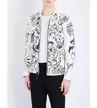 Coach 1941 Wild Print Leather Officer Jacket White