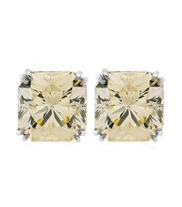 Carat Double Prong Solitaire Stud Earrings Female Yellow