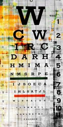 Parvez Taj Eye Chart Wall Art White Wood Medium 20 X 40 Black Blue Brown