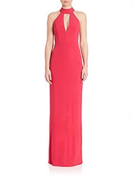 Abs By Allen Schwartz Cutout Halter Gown Cherry