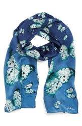 Women's Echo 'Snow Butterflies' Silk Oblong Scarf Blue Blue Storm