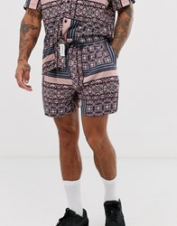 Native Youth Two Piece Short With Patchwork Geo Print In Purple