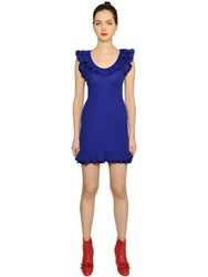 Boutique Moschino Ruffled Wool Rib Knit Dress