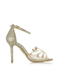 Charlotte Olympia Margherite Platinum White And Sunshine Yellow Glitter And Leather Sandal Gold