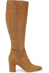 Tamara Mellon Nico Whipstitched Suede Knee Boots Tan