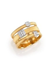 Marco Bicego Masai Diamond 18K Yellow Gold And 18K White Gold Station Ring