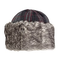 Dents Ladies Tartan Panelled Cossack Hat Grey