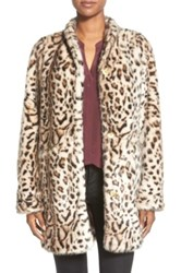 Via Spiga Cheetah Print Faux Fur Coat Brown