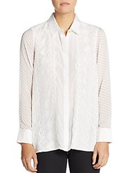 Robert Graham Leila Silk Mixed Lace Blouse Off White