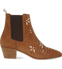 Maje Fiesty Suede Boots Camel