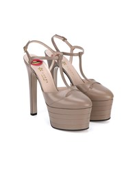 Gucci Leather Platform Pumps Rose Taupe Almond